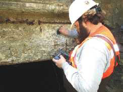 Ultrasonic Metal Thickness Measurements Taken on an I-Beam Embedded in Concrete