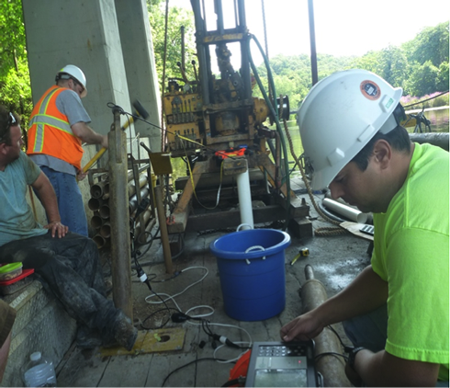 NDT Field Crew Acquiring Parallel Seismic Data